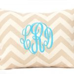 Monogrammed Throw Pillows With Stripped White Cream Color And Blue Letters