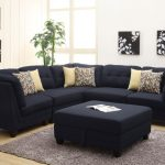 Most Comfortable Sectional Sofa In Black With Decorative Cushions Plus Ottoman As A Coffee Table Together With Furry Rug And Laminate Floor