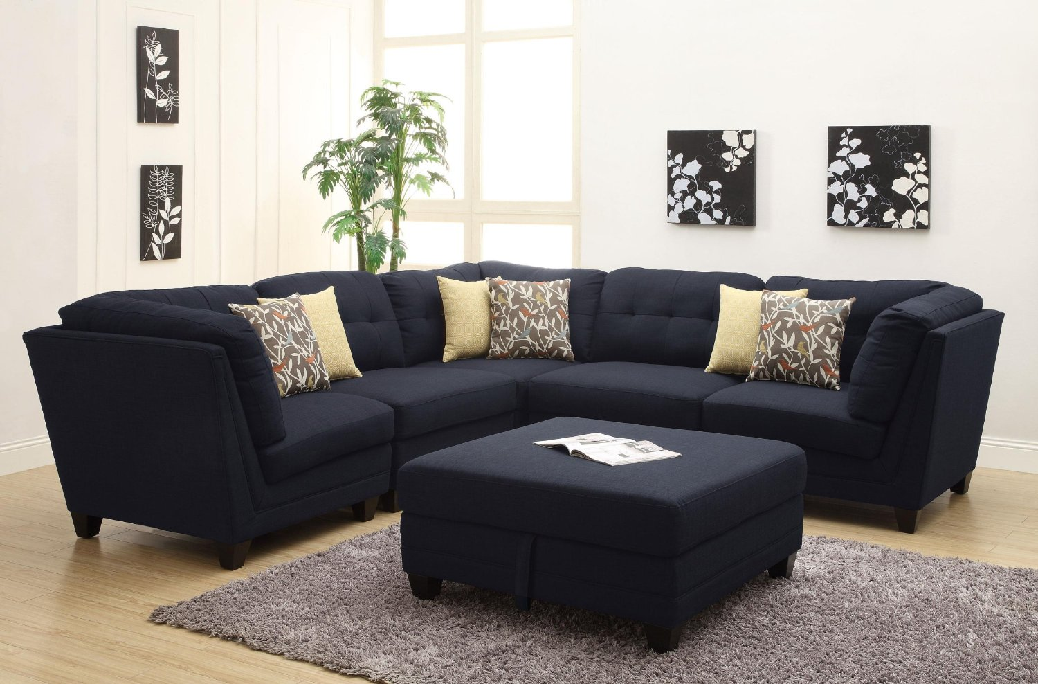 Good Most Comfortable Sectional Sofa In Black With Decorative Cushions Plus  Ottoman As A Coffee Table Together