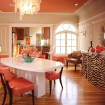 Old Hollywood Glamour Decor In Dining Room With Beautiful Orange Theme