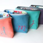 Open Colorful Monogrammed Cosmetic Bags
