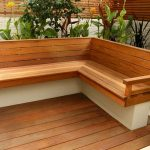 Outdoor Corner Bench Seating With Wooden Design Style