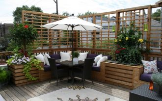 Outdoor Corner Bench With Umbrella And Patio Furniture