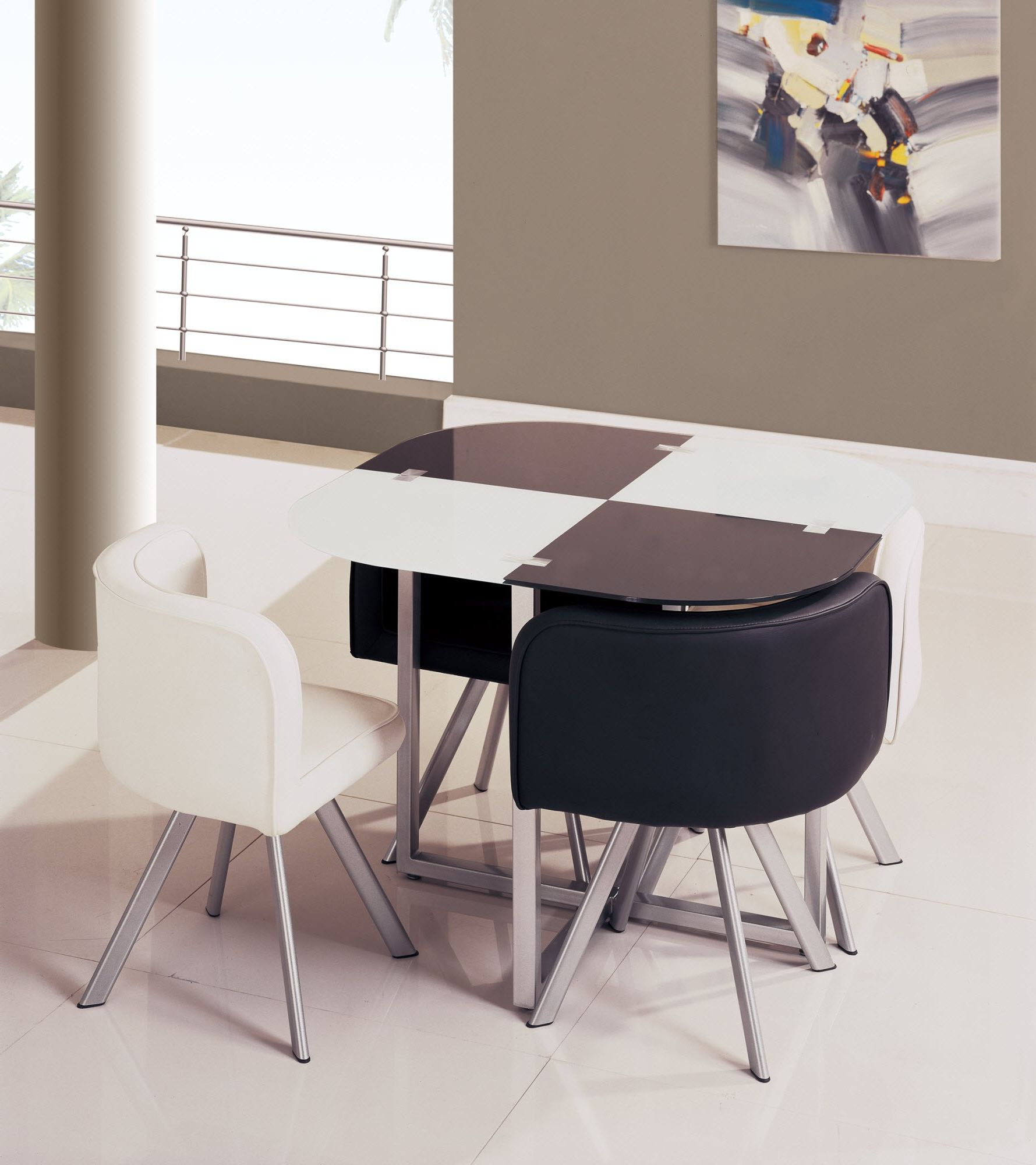 Beau Oval Marble White And Black Space Saver Dining Set