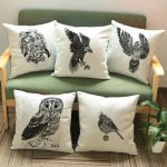 Owl Decorative Pattern ON Monogrammed Throw Pillows