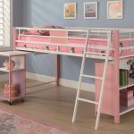 Pink Bunk Beds With Desks And Stairs For Girl