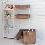 Plastic Storage Rack Laundry Baskets With Wheels For Bathroom