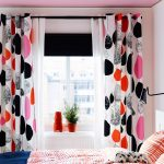 Polcadot Ikea Patterned Curtains On White Bedroom And Striped Bedding