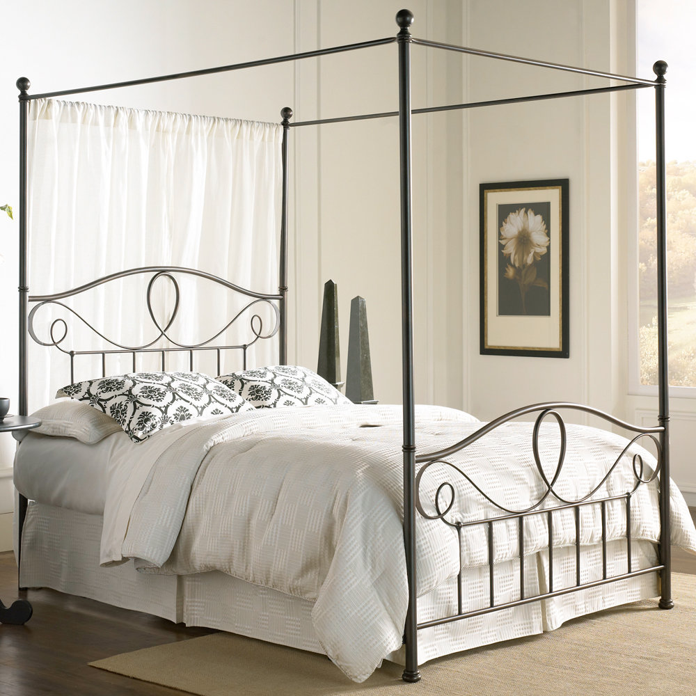 Silver Canopy Bed Frame Part - 41: Pretty Casual Iron Canopy Bed Frame On White Bed