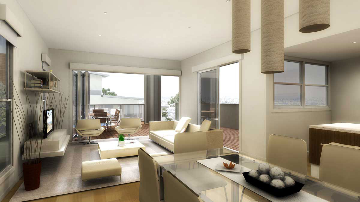 Pretty Modern Living Room Design Inspiration With Kitchen And Balcony