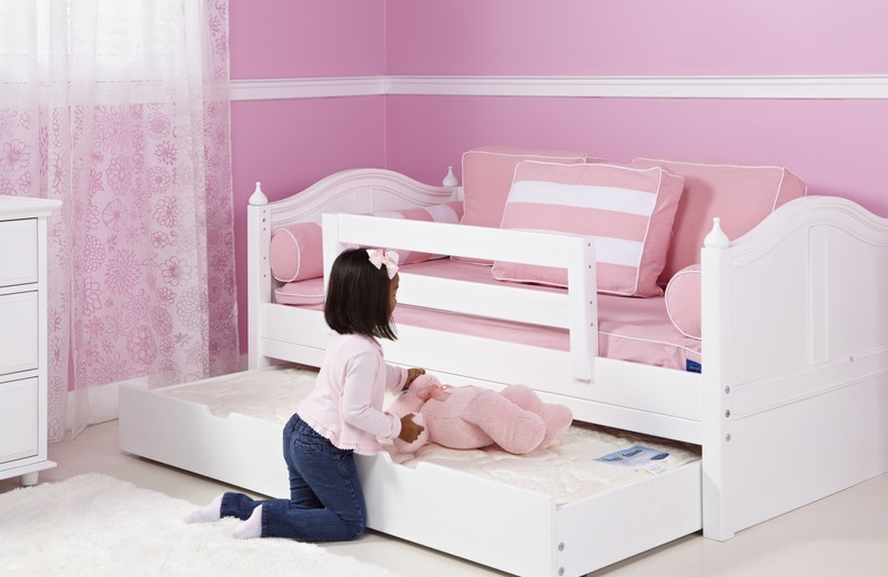 Pure White Double Trundle Bed Idea For Little Girl Bedroom Rug
