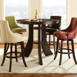 Random Color Of Leather Chairs And Round Wooden Table Of Pub Tables And Stools