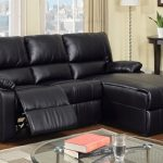 Reclining sectional with chaise with black leather coat