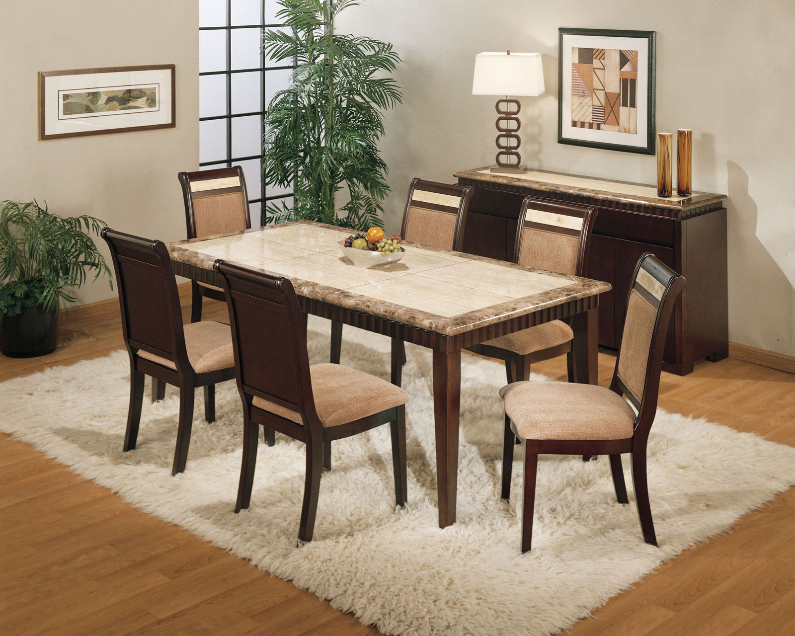 Rectangular Granite Dining Table Set With White Fur Rug Source
