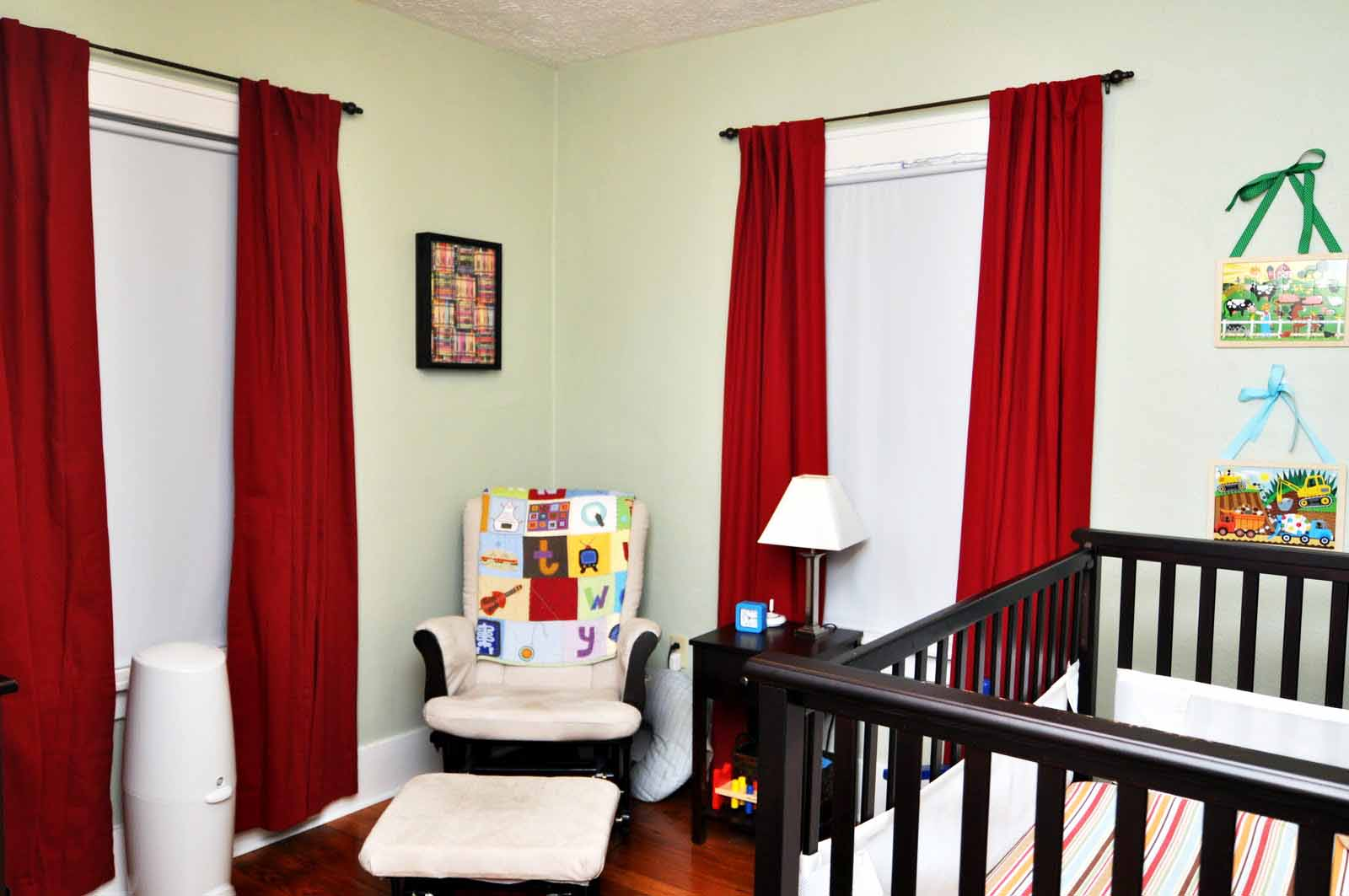 Kids modern bedroom curtains - Red Blackout Curtains Nursery With Dark Wooden Crib And White Chair