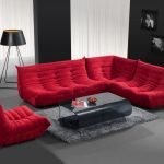 Red sectionals with microfiber grey glass coffee table with in modern design grey shag area rug minimalist stand lamp with battery powered