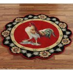 Round Cool Border Of Rooster Kitchen Rugs
