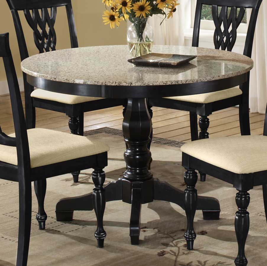 Granite dining table set homesfeed for Round dining table set for 4