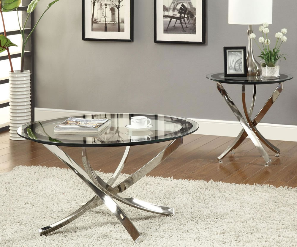 Delicieux Round Small Glass Coffee Tables Top With Fur Rug