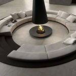 Round fire pit table idea in black large round sectional sofa in light grey