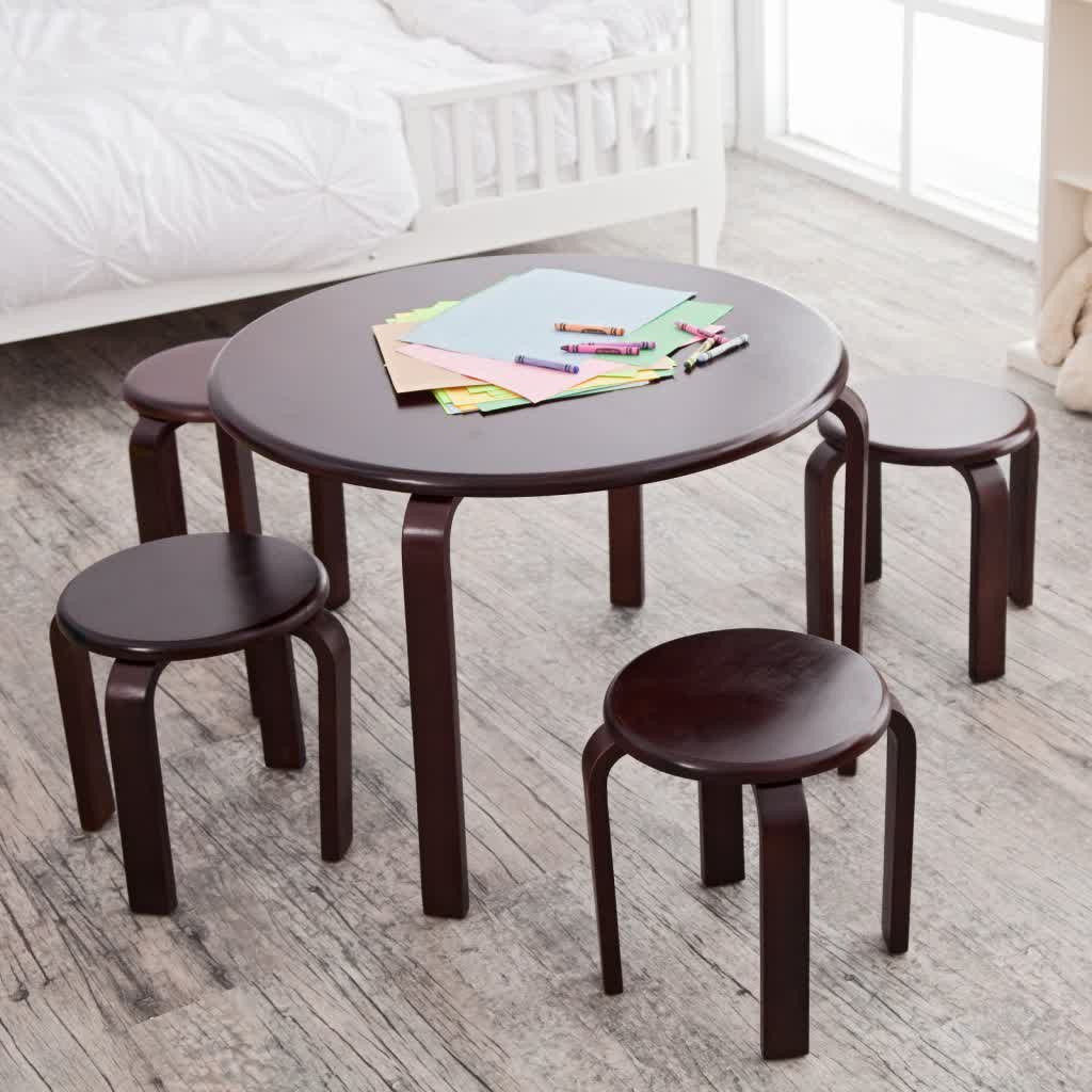 Chair drawing for kids - Round Top Wood Table And Round Top Wood Chairs In Dark Brown Finishing