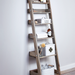 Rustic Ladder Shelving Unit On Grey Wall And Wood Floor