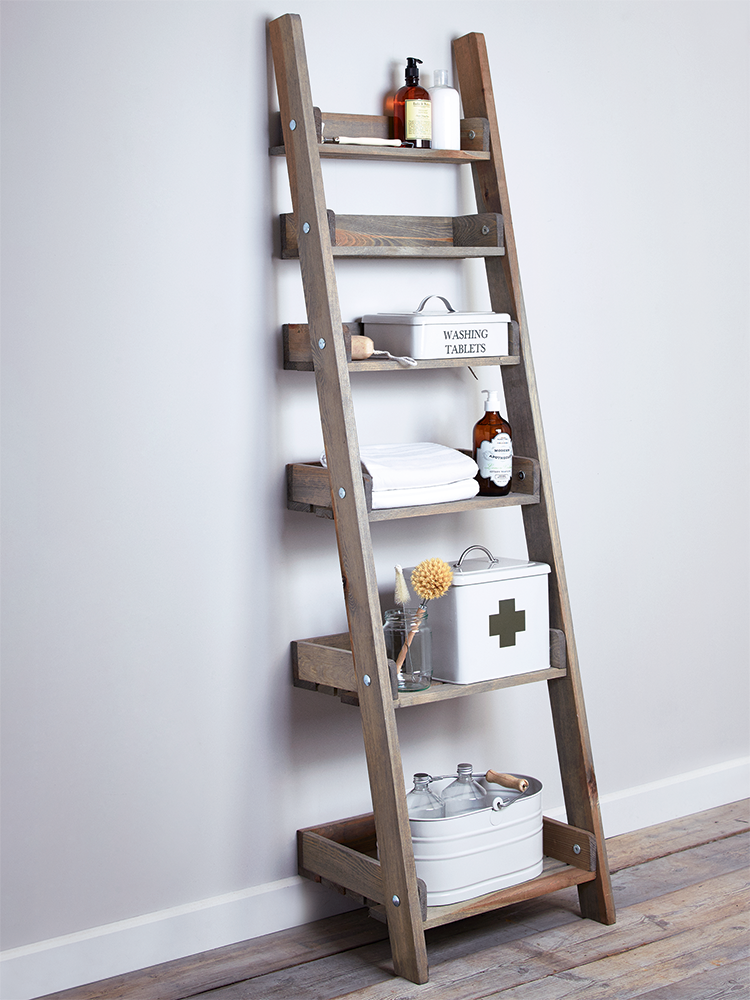 rustic ladder shelving unit on grey wall and wood floor - Wooden A Frame Ladder
