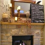 Rustic Mantel Decor For Fireplace And Light Brown And Candles Also Blackboard And Mirror