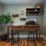 Rustic Office Desk With Double Round Chair And Small Shelf