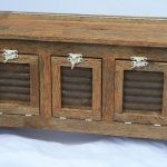 Rustic Small Bench With Storage With Three Doors