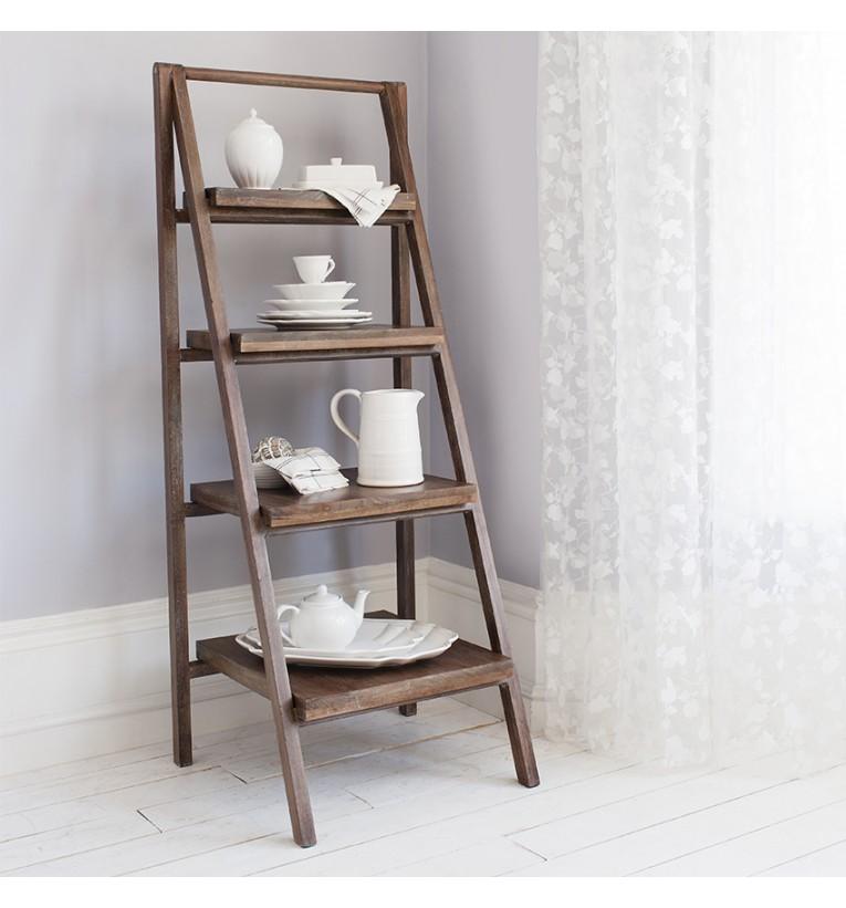 Wooden Ladder Shelf ~ Ladder shelving unit homesfeed