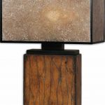 Rustic Floor Lamp In Earthy Color Scheme With Cool Shabby Wood Base And Shabby Dark Shoji Lampshade