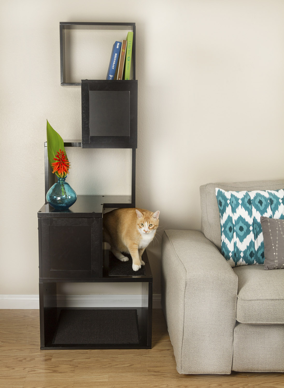 spoil your lovely cats with contemporary cat furniture  homesfeed - sebastian cat tree or contemporary cat furniture in black finishingdecorated next to the grey sofa