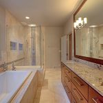 Shower Ideas For Master Bathroom With Big Mirror And White Bath Tub