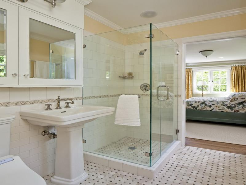 shower ideas for master bathroom with white design and glass shower door - Shower Ideas