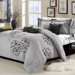 Silver Bed Design With Cool Comforter Sets Leaves Pattern
