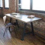Simple Rectangular Rustic Office Desk With Wooden Chair
