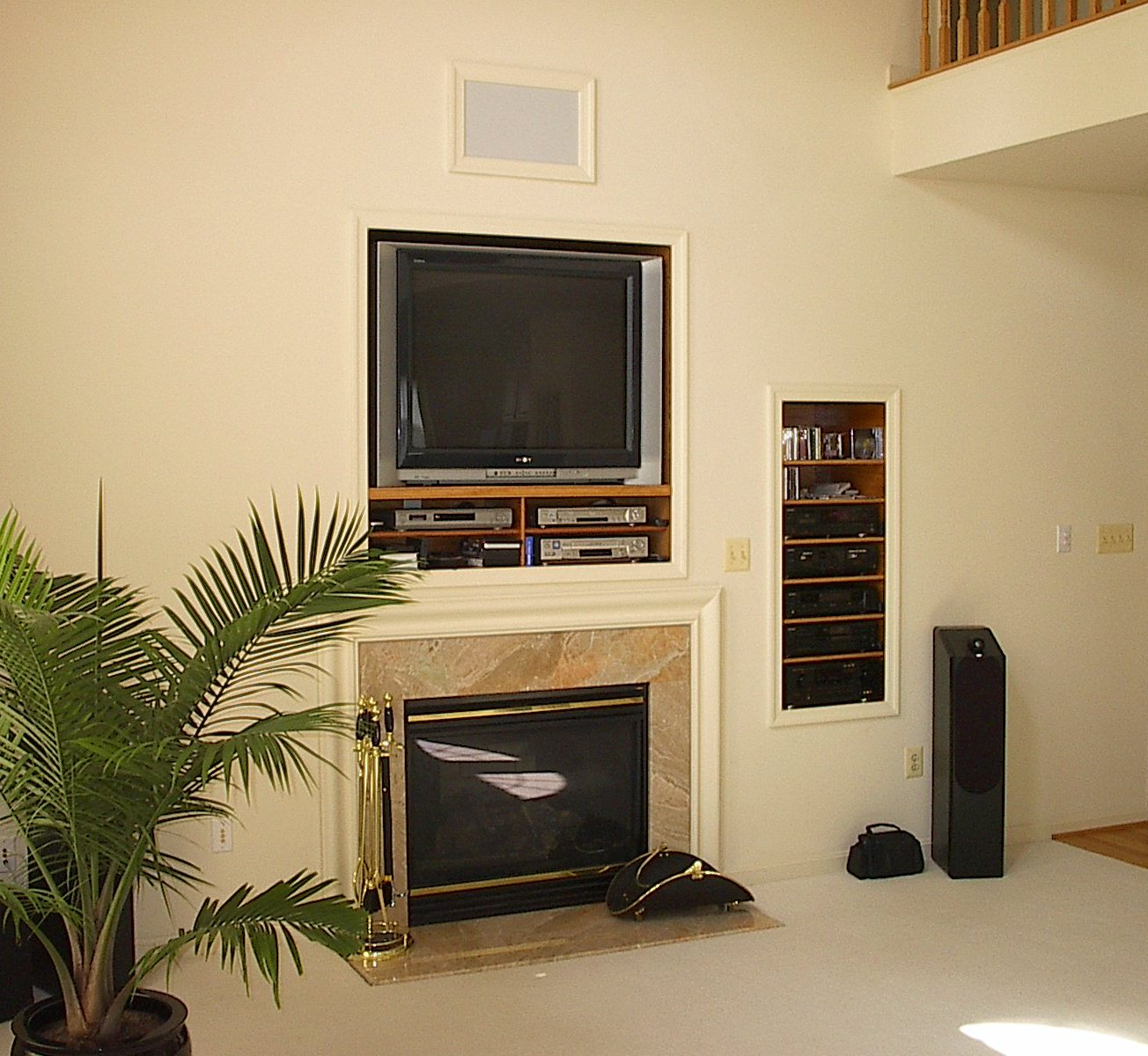 Beau Simple Small In Wall Entertainment Center With Fireplace