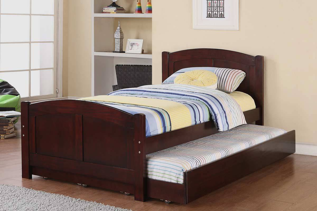 Simple Trundle Beds For Children With Wooden Bed And Blue Yellow Stripped Cover Design