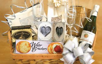 Simple Wedding Gifts With Basket Cards And Wine