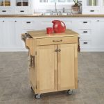 Simple and mini wooden kitchen cart on wheels