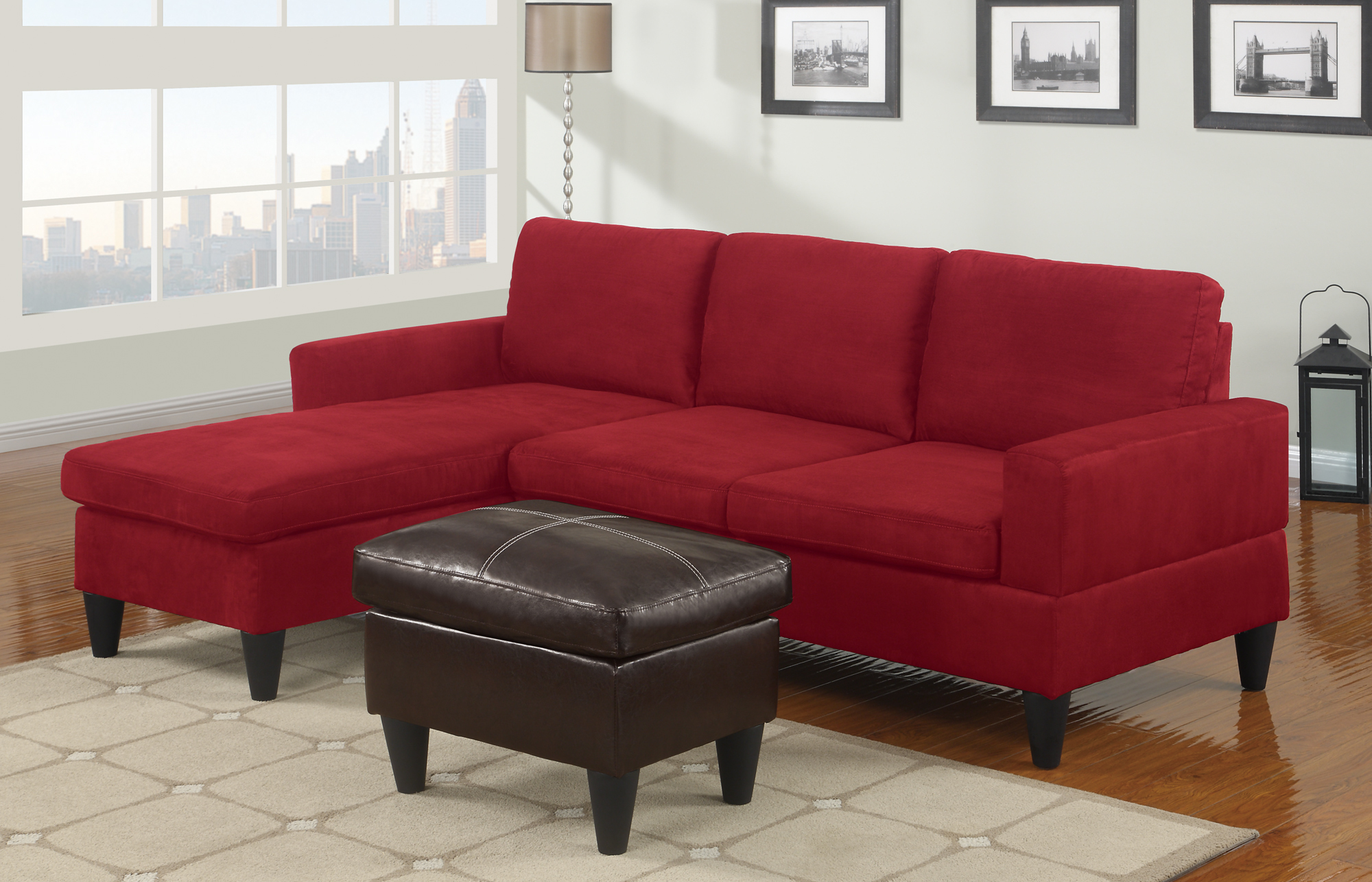 Red microfiber sectionals highlight your living room for Black microfiber chaise
