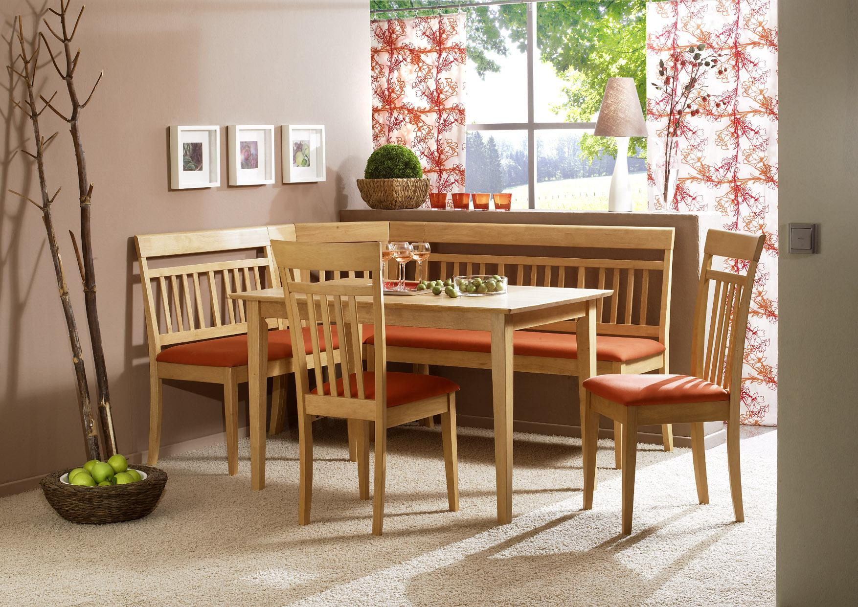 Dining room table with corner bench seat - Simple Wood Corner Bench Kitchen With Orange Cushion Wood Table Set With Two Wood Chairs With