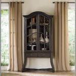 Skinny Wooden Tall China Cabinet With Long Curtains