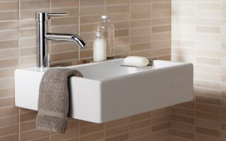 Small Wall Mount Sink For Bathroom With Brown Towel And Soap Spot