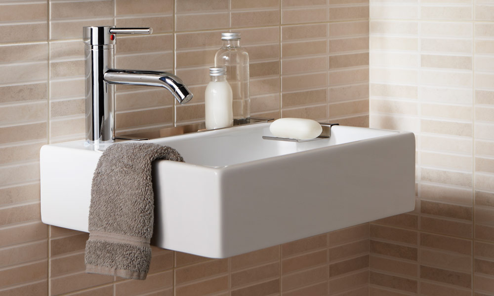 Merveilleux Small Wall Mount Sink For Bathroom With Brown Towel And Soap Spot