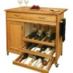 Small kitchen island with pull out wine rack and wheels