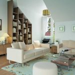 Soft Teal Living Room Decor With White Sectional Sofa And Wooden Cabinet