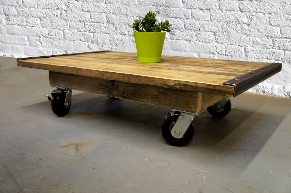 Solid Wood Coffee Table With Wheels Part 26