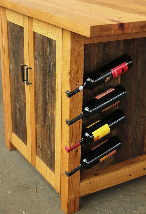 Kitchen island with wine rack design options homesfeed for Other uses for wine racks in kitchen